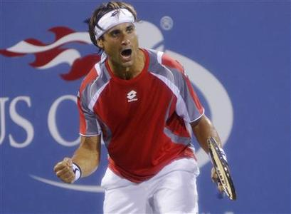 David Ferrer of Spain celebrates defeating Richard Gasquet of France during their match at the U.S. Open tennis tournament in New York September 4, 2012. REUTERS/Ray Stubblebine