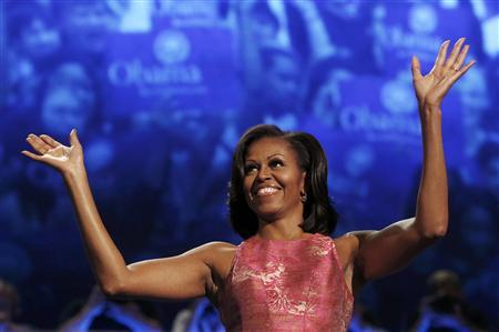 U.S. first lady Michelle Obama waves before addressing the first session of the Democratic National Convention in Charlotte, North Carolina, September 4, 2012. during first day of the Democratic National Convention in Charlotte, North Carolina September 4, 2012. REUTERS/Eric Thayer