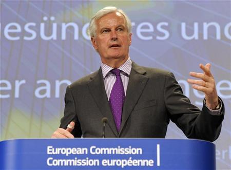 European commissioner in charge of financial regulation Michel Barnier addresses a news conference at the EU Commission headquarters in Brussels June 6, 2012. REUTERS/Laurent Dubrule