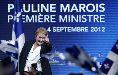 Parti Quebecois leader Pauline Marois addresses party supporters after winning a minority government in the Quebec provincial election in Montreal, Quebec, September 4, 2012. REUTERS/Christinne Muschi