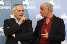 "Director Marco Bellocchio (L) and cast member Toni Servillo pose during the photocall of the movie ""Bella addormentata"" (Dormant Beauty) at the 69th Venice Film Festival in Venice September 5, 2012. REUTERS/Tony Gentile"
