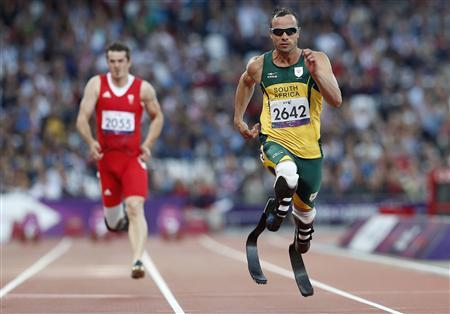 South Africa's Oscar Pistorius competes in round one of the men's 100m - T44 in the Olympic Stadium at the London 2012 Paralympic Games September 5, 2012. REUTERS/Suzanne Plunkett