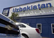 Chevrolet cars are seen parked in front of the General Motors plant in Asaka August 29, 2012. Ninety-four percent of new cars sold in Uzbekistan last year were made by General Motors - the biggest share of any market served by the U.S. auto giant. REUTERS/Shamil Zhumatov