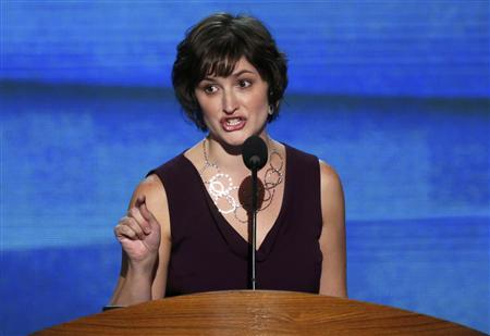 Attorney and women's rights activist Sandra Fluke addresses delegates during the second session of the Democratic National Convention in Charlotte, North Carolina, September 5, 2012. REUTERS/Jason Reed