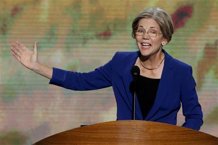 Elizabeth Warren, candidate for the U.S. Senate in Massachusetts, addresses the second session of the Democratic National Convention in Charlotte, North Carolina September 5, 2012. REUTERS/Jason Reed
