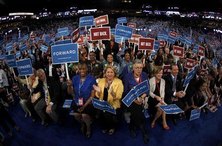 Delegates applaud during the first session of the Democratic National Convention in Charlotte, North Carolina. REUTERS/Jim Young