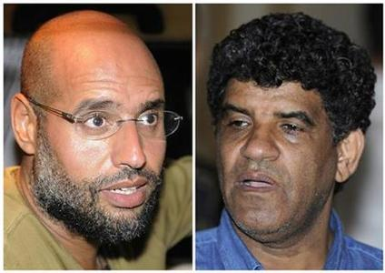 A combination photograph shows Saif Al-Islam (L), son of Libyan leader Muammar Gaddafi, talking to reporters in Tripoli in an August 23, 2011 file photo, and Abdullah Al-Senussi, head of the Libyan Intelligence Service speaking to the media in Tripoli in an August 21, 2011 file photo. REUTERS/Paul Hackett/Files