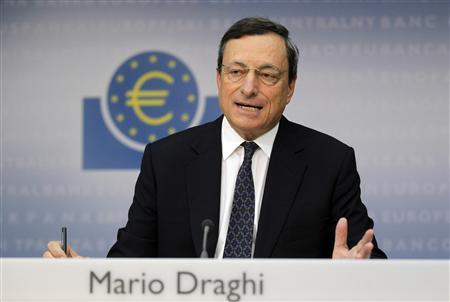 European Central Bank (ECB) President Mario Draghi speaks during the monthly news conference in Frankfurt September 6, 2012. REUTERS/Alex Domanski