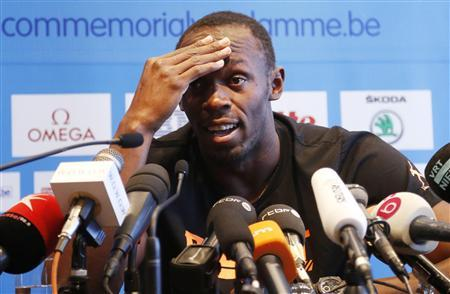 Jamaica's Usain Bolt addresses a news conference ahead of the Golden League athletics meeting in Brussels September 6, 2012. REUTERS/Francois Lenoir