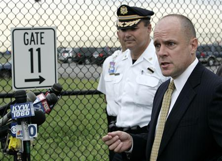 Richard Quinn, FBI Special Agent in Charge for National Security, Philadelphia, speaks to reporters after a US Airways plane was ordered back to Philadelphia International airport following a report of explosives onboard, in Philadelphia September 6, 2012. REUTERS/Tom Mihalek