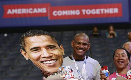 Texas delegates display a cardboard likeness of U.S. President Barack Obama during the final session of the Democratic National Convention in Charlotte, North Carolina September 6, 2012. REUTERS/Adrees Latif