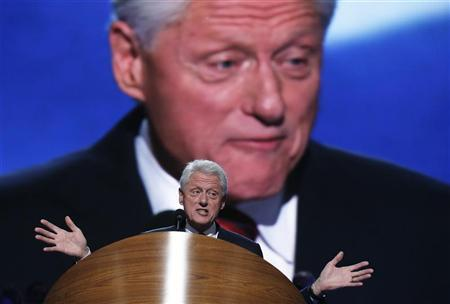 Former U.S. President Bill Clinton addresses the second session of the Democratic National Convention in Charlotte, North Carolina September 5, 2012. REUTERS/Jim Young