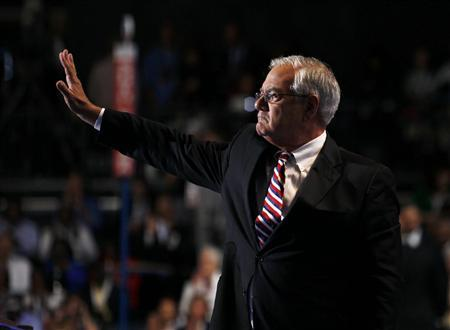 U.S. Rep. Barney Frank (D-MA) waves after addressing the final session of the Democratic National Convention in Charlotte, North Carolina September 6, 2012. REUTERS/Jessica Rinaldi