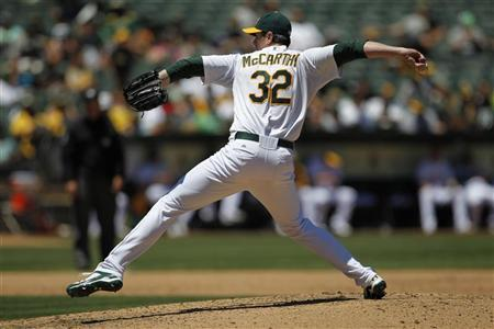Oakland Athletics pitcher Brandon McCarthy winds up during the fifth inning of his MLB American League baseball game against the Texas Rangers in Oakland, California June 7, 2012. REUTERS/Beck Diefenbach