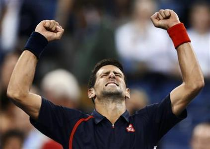Novak Djokovic of Serbia celebrates after defeating Juan Martin Del Potro of Argentina during their men's singles quarter-finals match at the U.S. Open tennis tournament in New York, September 6, 2012. REUTERS/Adam Hunger