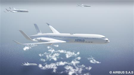 An undated artist's impression shows aircraft in free flight and formation along 'express skyways'. Image courtesy of Airbus. REUTERS/Handout