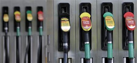 Gas pumps are seen at a petrol station in Prague May 10, 2012. REUTERS/David W Cerny