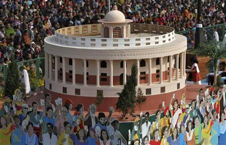 A tableau representing from the election commission of India representing the Indian parliament is displayed during the 63rd Republic Day parade in New Delhi January 26, 2012. REUTERS/B Mathur/Files