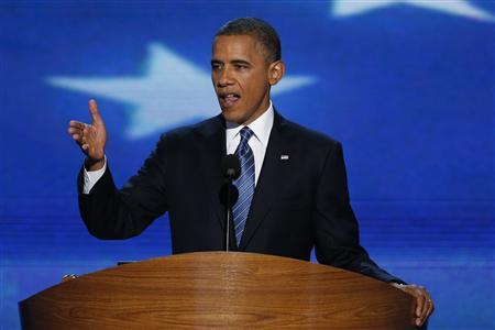 U.S. President Barack Obama accepts the 2012 U.S Democratic presidential nomination as he addresses delegates during the final session of the Democratic National Convention in Charlotte, North Carolina, September 6, 2012. REUTERS/Jason Reed