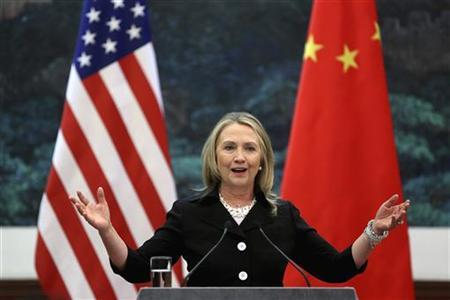 U.S. Secretary of State Hillary Clinton attends a news conference at the Great Hall of the People in Beijing September 5, 2012. REUTERS/Feng Li/Pool