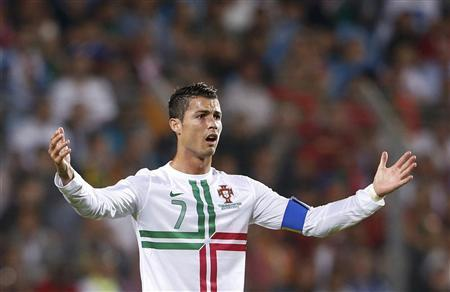 Portugal's Cristiano Ronaldo reacts during their 2014 World Cup Qualifying match against Luxembourg in Luxembourg September 7, 2012. REUTERS/Francois Lenoir