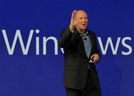 Microsoft CEO Steve Ballmer speaks at a Nokia phone launch, with Microsoft's Windows 8 operating system in New York, September 5, 2012. REUTERS/Brendan McDermid