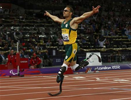 South Africa's Oscar Pistorius wins the Men's 400m T44 classification at the Olympic Stadium during the London 2012 Paralympic Games September 8, 2012. REUTERS/Eddie Keogh