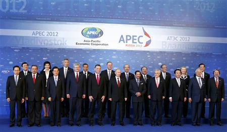 APEC leaders pose for a family photo at the Asia-Pacific Economic Cooperation (APEC) Summit in Vladivostok September 9, 2012. REUTERS/Grigory Dukor
