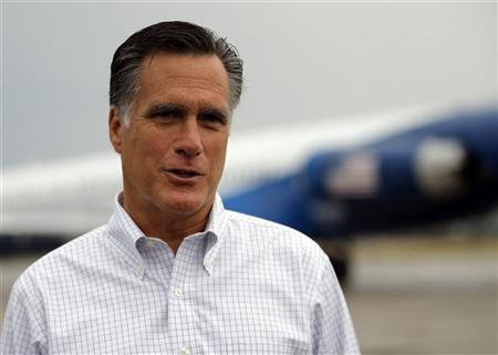 Republican presidential candidate and former Massachusetts Governor Mitt Romney talks to reporters at the airport in Sergeant Bluff, Iowa September 7, 2012. REUTERS/Brian Snyder