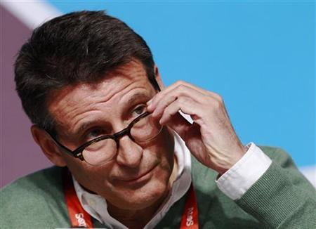 Olympic Games chief Sebastian Coe reacts during a news conference in the Olympic Park at the London 2012 Olympic Games July 29, 2012. REUTERS/Luke MacGregor