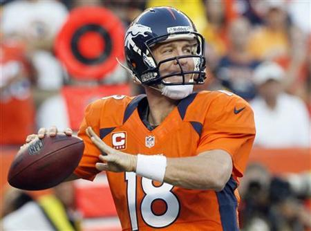 Denver Broncos quarterback Peyton Manning prepares to throw against the Pittsburgh Steelers during their NFL football game in Denver September 9, 2012. REUTERS/Rick Wilking