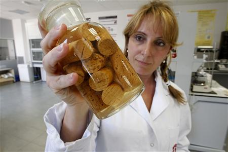 A laboratory worker shows a jar filled with cork stoppers at the laboratory of the Catalan Cork Institute in Palafrugell, near Girona, August 23, 2012. REUTERS/Gustau Nacarino
