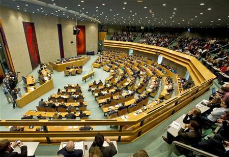An overview of the parliament during a debate about the government's resignation caused by a crisis over budget cuts in The Hague April 24, 2012. REUTERS/Paul Vreeker/United Photos