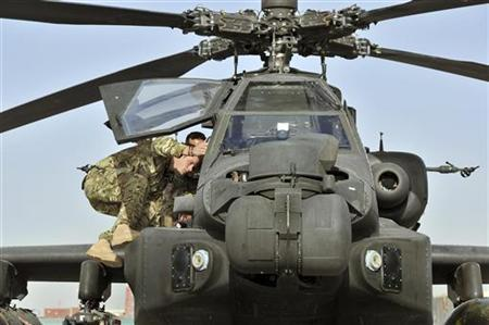 Britain's Prince Harry climbs up to examine the cockpit of an Apache helicopter at Camp Bastion in Afghanistan September 7, 2012. The prince is serving a four-month tour, based out of Camp Bastion in Helmand Province - one of the most volatile regions in the country where Britain has been fighting alongside the United States against the local Taliban since 2001. Photograph taken September 7, 2012. REUTERS/John Stillwell/pool
