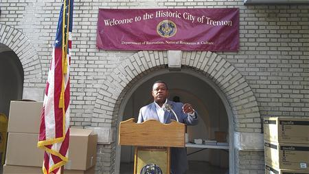 City of Trenton Mayor Tony Mack is pictured at a National Night kick-off event in Trenton, New Jersey, on August 6, 2012. The embattled mayor of Trenton, New Jersey's state capital, was arrested at his home early on September 10, 2012 and charged with public corruption, the FBI said. REUTERS/City of Trenton/Handout