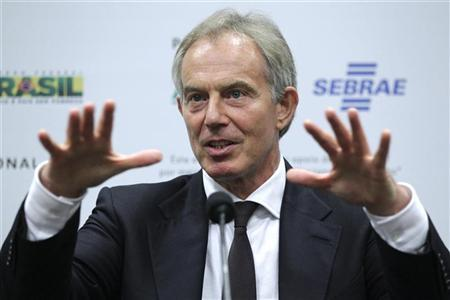 Britain's former prime minister Tony Blair speaks during a news conference before the 10th edition of the International Competitive Brazil at the convention center Brasilia Brazil XXI in Brasilia August 28, 2012. REUTERS/Ueslei Marcelino