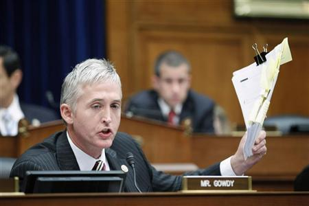 Representative Trey Gowdy (R-SC) speaks during a House Oversight and Government Reform Committee session at Capitol Hill in Washington June 20, 2012. REUTERS/Jose Luis Magana