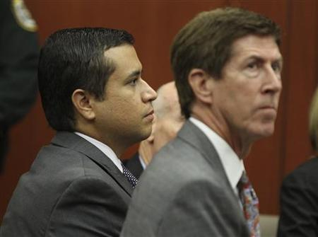 George Zimmerman (L) appears, along with his attorney Mark O'Mara, in front of Circuit Judge Kenneth R. Lester for a bond hearing at the Seminole County Criminal Justice Center in Sanford, Florida, June 29, 2012. REUTERS/Joe Burbank/Pool