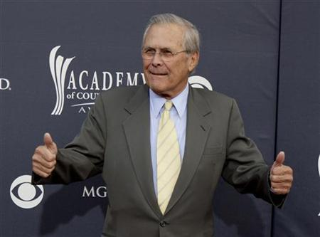 Former U.S. Secretary of Defense Donald Rumsfeld arrives at the 46th annual Academy of Country Music Awards in Las Vegas April 3, 2011. REUTERS/Sam Morris