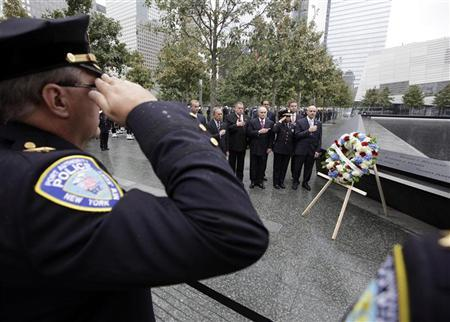 First Responders are honoured during a wreath-laying ceremony to mark the 10th anniversary of the 9/11 attacks on the World Trade Center, in New York September 20, 2011. REUTERS/Chip East