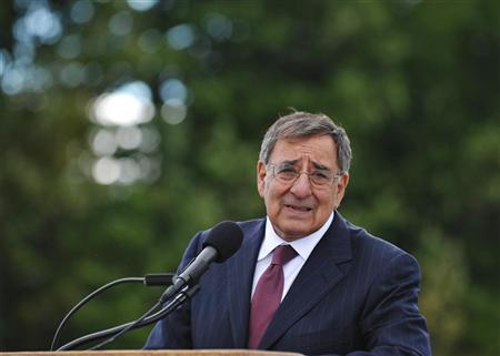 U.S. Defense Secretary Leon Panetta speaks to reporters after visiting the Flight 93 National Memorial ahead of the 11th anniversary of the 9/11 attacks in Shanksville, Pennsylvania September 10, 2012. REUTERS/Mandel Ngan/Pool