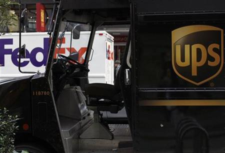A UPS truck is parked near Time's Square in New York, October 22, 2009. REUTERS/Brendan McDermid