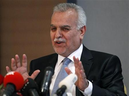Iraq's fugitive Vice President Tareq al-Hashemi gestures as he addresses the media in Ankara September 10, 2012. REUTERS/Umit Bektas