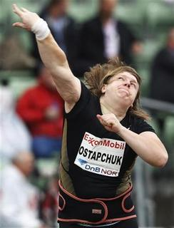 Belarus' Nadezhda Ostapchuk competes in the women's shot put event at the Diamond League's Bislett Games in Oslo June 9, 2011. Ostapchuk came second in the event. REUTERS/Cornelius Poppe/Scanpix