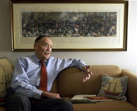 Vanguard group founder John Bogle makes a point during an interview at his office on the Vanguard campus, near Valley Forge, Pennsylvania, January 16, 2003.