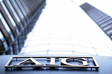 The logo of American International Group (AIG) is seen at their offices in New York in this file photograph from September 18, 2008. REUTERS/Eric Thayer/Files