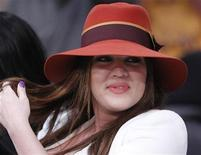 Khloe Kardashian sits courtside before the Los Angeles Lakers play the Dallas Mavericks in Game 1 of their NBA Western Conference semi-final basketball playoff in Los Angeles, California May 2, 2011. REUTERS/Lucy Nicholson