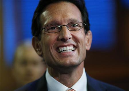 House Majoity Leader Eric Cantor (R-VA) smiles before the start of the third session of the Republican National Convention in Tampa, Florida August 29, 2012. REUTERS/Eric Thayer