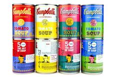 Limited edition cans of Campbell's Tomato Soup with pop-art labels derived from Andy Warhol's original artwork are shown in this undated handout photo supplied by Campbell's Soup Company September 11, 2012. REUTERS/Campbell's Soup Company/Handout