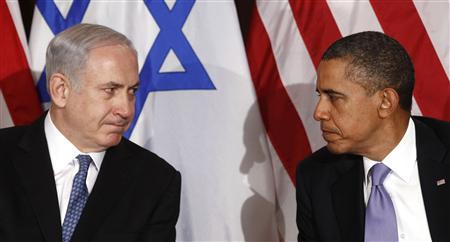 U.S. President Barack Obama (R) meets Israel's Prime Minister Benjamin Netanyahu at the United Nations in New York in this file photo taken September 21, 2011. REUTERS/Kevin Lamarque/Files
